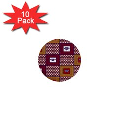 African Fabric Diamon Chevron Yellow Pink Purple Plaid 1  Mini Buttons (10 Pack)
