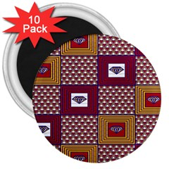 African Fabric Diamon Chevron Yellow Pink Purple Plaid 3  Magnets (10 Pack)