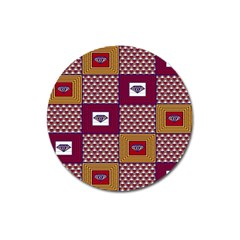 African Fabric Diamon Chevron Yellow Pink Purple Plaid Magnet 3  (round)
