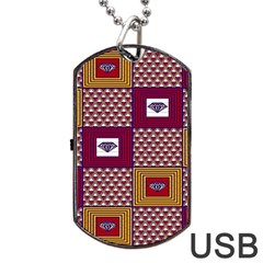 African Fabric Diamon Chevron Yellow Pink Purple Plaid Dog Tag Usb Flash (two Sides) by Alisyart