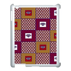 African Fabric Diamon Chevron Yellow Pink Purple Plaid Apple Ipad 3/4 Case (white)