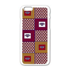 African Fabric Diamon Chevron Yellow Pink Purple Plaid Apple Iphone 6/6s White Enamel Case by Alisyart