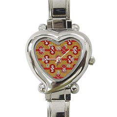 African Fabric Iron Chains Red Purple Pink Heart Italian Charm Watch