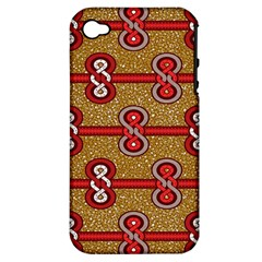 African Fabric Iron Chains Red Purple Pink Apple Iphone 4/4s Hardshell Case (pc+silicone) by Alisyart