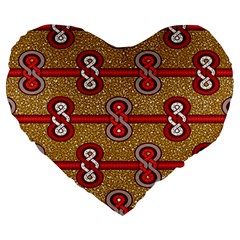 African Fabric Iron Chains Red Purple Pink Large 19  Premium Heart Shape Cushions