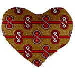 African Fabric Iron Chains Red Purple Pink Large 19  Premium Heart Shape Cushions Front