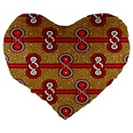 African Fabric Iron Chains Red Purple Pink Large 19  Premium Heart Shape Cushions Back