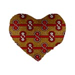African Fabric Iron Chains Red Purple Pink Standard 16  Premium Flano Heart Shape Cushions Front