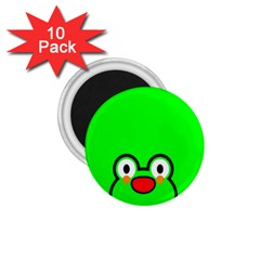 Animals Frog Face Green 1 75  Magnets (10 Pack)