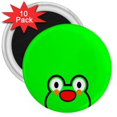 Animals Frog Face Green 3  Magnets (10 Pack)
