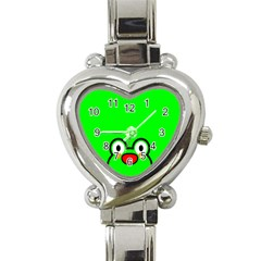 Animals Frog Face Green Heart Italian Charm Watch