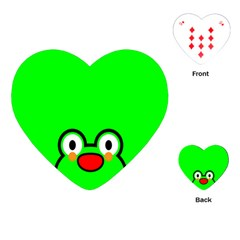 Animals Frog Face Green Playing Cards (heart)