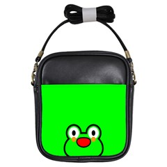 Animals Frog Face Green Girls Sling Bags by Alisyart