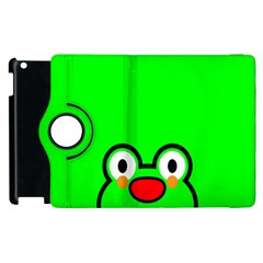 Animals Frog Face Green Apple Ipad 3/4 Flip 360 Case