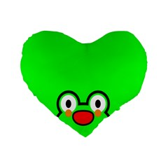 Animals Frog Face Green Standard 16  Premium Heart Shape Cushions by Alisyart