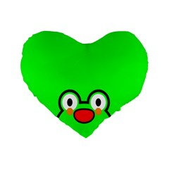 Animals Frog Face Green Standard 16  Premium Flano Heart Shape Cushions