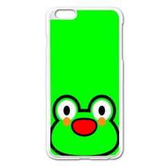 Animals Frog Face Green Apple Iphone 6 Plus/6s Plus Enamel White Case
