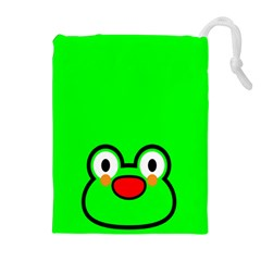 Animals Frog Face Green Drawstring Pouches (extra Large)