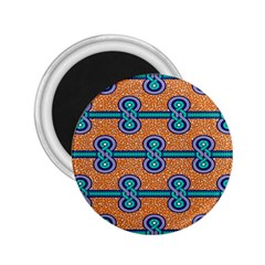 African Fabric Iron Chains Blue Orange 2 25  Magnets