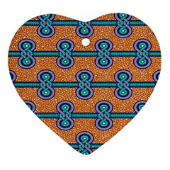 African Fabric Iron Chains Blue Orange Ornament (heart)