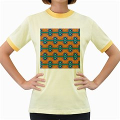 African Fabric Iron Chains Blue Orange Women s Fitted Ringer T Shirts