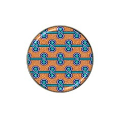 African Fabric Iron Chains Blue Orange Hat Clip Ball Marker (10 Pack)