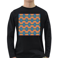 African Fabric Iron Chains Blue Orange Long Sleeve Dark T Shirts by Alisyart