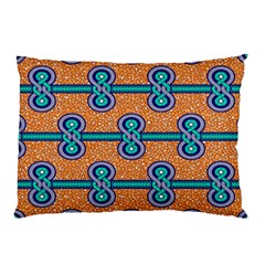 African Fabric Iron Chains Blue Orange Pillow Case