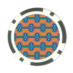 African Fabric Iron Chains Blue Orange Poker Chip Card Guard (10 Pack)