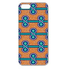 African Fabric Iron Chains Blue Orange Apple Seamless Iphone 5 Case (clear)