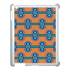 African Fabric Iron Chains Blue Orange Apple Ipad 3/4 Case (white)