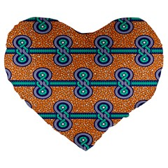 African Fabric Iron Chains Blue Orange Large 19  Premium Heart Shape Cushions