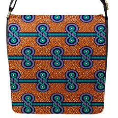 African Fabric Iron Chains Blue Orange Flap Messenger Bag (s)