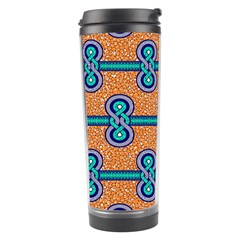 African Fabric Iron Chains Blue Orange Travel Tumbler by Alisyart
