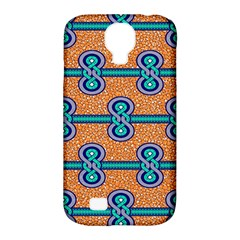 African Fabric Iron Chains Blue Orange Samsung Galaxy S4 Classic Hardshell Case (pc+silicone) by Alisyart