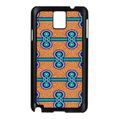 African Fabric Iron Chains Blue Orange Samsung Galaxy Note 3 N9005 Case (black) by Alisyart