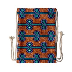 African Fabric Iron Chains Blue Orange Drawstring Bag (small) by Alisyart