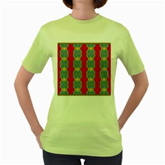 African Fabric Iron Chains Red Yellow Blue Grey Women s Green T Shirt by Alisyart