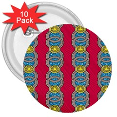 African Fabric Iron Chains Red Yellow Blue Grey 3  Buttons (10 Pack)