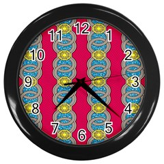 African Fabric Iron Chains Red Yellow Blue Grey Wall Clocks (black) by Alisyart