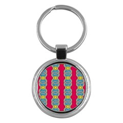 African Fabric Iron Chains Red Yellow Blue Grey Key Chains (round)