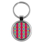 African Fabric Iron Chains Red Yellow Blue Grey Key Chains (Round)  Front