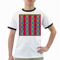 African Fabric Iron Chains Red Yellow Blue Grey Ringer T Shirts by Alisyart