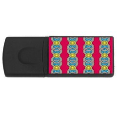 African Fabric Iron Chains Red Yellow Blue Grey Usb Flash Drive Rectangular (4 Gb) by Alisyart