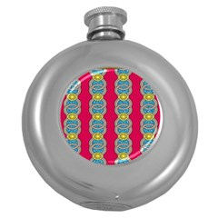 African Fabric Iron Chains Red Yellow Blue Grey Round Hip Flask (5 Oz) by Alisyart