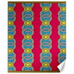 African Fabric Iron Chains Red Yellow Blue Grey Canvas 16  X 20   by Alisyart
