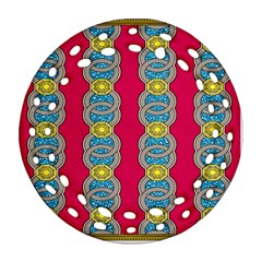 African Fabric Iron Chains Red Yellow Blue Grey Ornament (round Filigree)