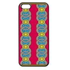 African Fabric Iron Chains Red Yellow Blue Grey Apple Iphone 5 Seamless Case (black)