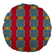 African Fabric Iron Chains Red Yellow Blue Grey Large 18  Premium Round Cushions