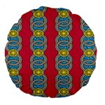 African Fabric Iron Chains Red Yellow Blue Grey Large 18  Premium Round Cushions Front